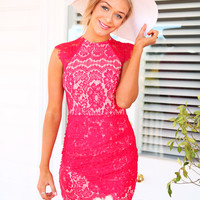 ROMAN HOLIDAY DRESS (RED) - red lace dress