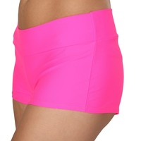 Pink (Neon) Solid Color Booty Shorts