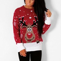 Rudolph Red Knitted Christmas Print Jumper | Pink Boutique