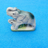 Elephant and Baby ceramic incense holder. Made in Japan in the 1950's. Vintage decoration
