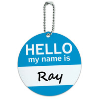Ray Hello My Name Is Round ID Card Luggage Tag