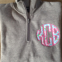Monogrammed 1/4 zip sweatshirts with Lily pulitzer fabric appliques.