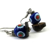 Cobalt Blue with Colored Rings African Sand Cast Bead Dangle Earrings on Coconut Shell Base