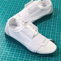 Balenciaga Race Runner Multimaterial Contrasted Runners Low-top White Green Sneakers - Best Online Sale