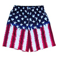American Flag Tie Dye Sublimated Lacrosse Shorts