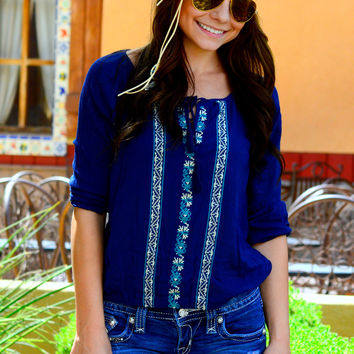 BOHEMIAN BEAUTY TOP IN NAVY