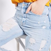MOTO Extreme Ripped Bleach Mom Jeans