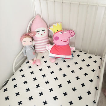 1pc crib fitted sheet 5 designs Baby bed  sheet 100% cotton black and white simply style for boys girls