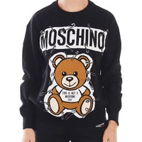MOSCHINO Autumn Winter Popular Women Pin Bear Jacquard Round Collar Knit Sweater Sweatshirt