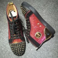 PEAPNW6 Cl Christian Louboutin Lou Spikes Style #2200 Sneakers Fashion Shoes