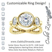 Cubic Zirconia Engagement Ring- The a'Malisa (Customizable 3-stone Round Cut Design with 2 Oval Cut Side Stones and Wide, Bubble-Bead Split-Band)
