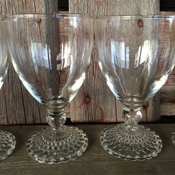 1950s glassware, bubble foot 10 oz water glasses by Anchor Hocking, Mid century wine glasses, vintage bar cart glasses, chic glassware