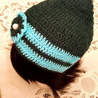 "L/XL Green and Turquoise ""Handmade"" Crochet Beanie. Ready to Ship"