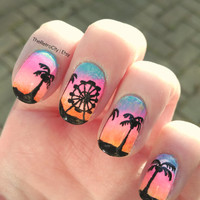 Coachella, Summer, California, Tropical, Colorful Nail Art, False, Fake, Acrylic, Handpainted, Press On Nail Set