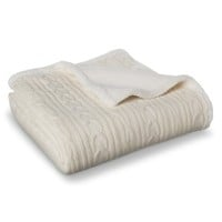 Threshold™ Cable Knit Sherpa Throw Blanket - Cream