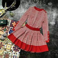 """Louis Vuitton"" Women Temperament Fashion Knit Multicolor Tartan Long Sleeve Tops Short Skirt Set Two-Piece"