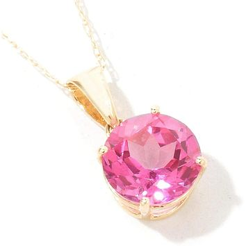 10K Yellow Gold Natural 2CT Round Cut Pink Topaz Pendant Necklace