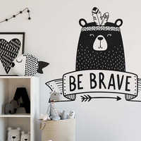 Be Brave Wall Decal - Nursery Decal, Vinyl Wall Decal, Bear Decal, Cute Wall Decor, Tribal Nursery