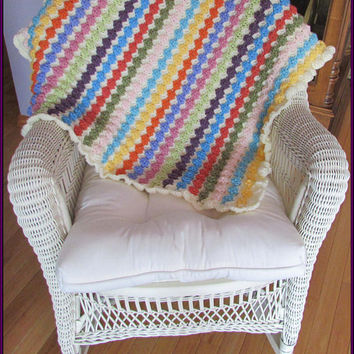 Blankets, Nursery, Baby Blankets, Hand Crocheted, Reversible, Multi Colors, Cream, baby shower gift, baby gift, New Mom, baby boy, baby girl