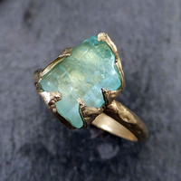 Raw Sea Green Tourmaline Gold Ring Rough Uncut Gemstone Rare tourmaline recycled engagement promise stacking cocktail statement