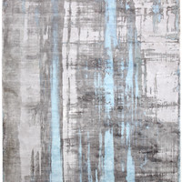 Dynamic Rugs Artisan Silver/Blue Contemporary Rectangle Area Rug