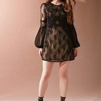 UO Belladonna Embroidered Mesh Dress   Urban Outfitters