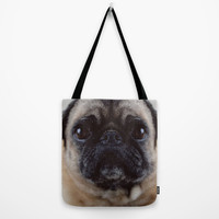 Pug Tote Bag - Beach Bag - Book Bag - Tote Bag - Grocery Bag - Pug Photograph - Made to Order