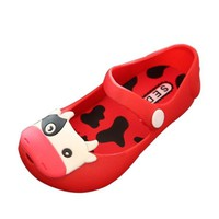 Kids Children Flat Sandals Cute Fish Mouth Cow Cattle Pattern Shoes