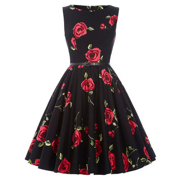 Summer Dresses Women Pinup Retro Robe Rockabilly 50s Vintage Dress Plus Size XS-3XL Sexy Cocktail Party Dress Vestidos Femininos