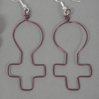 """Earrings Feminist Jewelry Burgundy Womens Rights Jewellery Woman Sign Female Feminism Gender Equality Silver Plated Ear Wire 2"""" Earwear 178"""