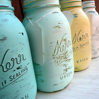 WEDDING and Home Decor SALE Painted and Distressed Shabby Chic Mason Jar Vases - Seaside inside/outside quart