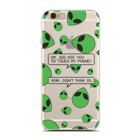 Don't Touch My Phone Aliens - Funny Alien - UFO Cases - Aliens - Slim & Transparent case for iPhone - by HeartOnMyFingers - SLIMCASE-311