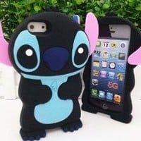 Authentic Black&Blue Lilo and Stitch 3D Soft Case Cover for Iphone 5(16G/32GB/64GB) Xmas Gift