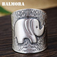 BALMORA 990 Pure Silver Elephant Open Rings for Women Men Child Party Gift 990 Silver Ring Fashion Jewelry Anillos SY22008