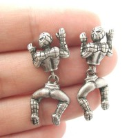 Quirky Spiderman Shaped Dangle Stud Earrings in Silver | Marvel Super Heroes