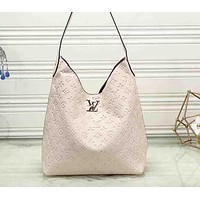 """Louis Vuitton""  women's fashion large-capacity printing simple casual  shopping bag  shoulder bag Beige"