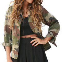 Casual Fashion Jacket Women Camouflage Sheath Outerwear Vogue Coat Military Fatigues Restoring Women Button Jacket Army Green