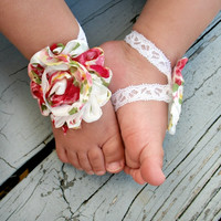 Baby Barefoot Sandals..Floral Print on Lace..Toddler Sandals..Newborn Sandals .. Baby Flower Sandals