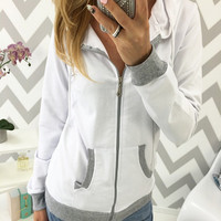 Contrast Color Front Zippered Hooded Sweater