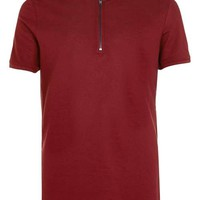 Burgundy Zip Collar Polo Shirt - New This Week - New In