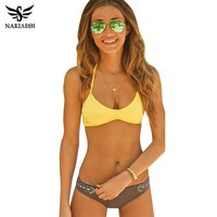 NAKIAEOI Sexy Bikinis Women Swimsuit Swimwear 2017 New Bandage Brazilian Bikini Set Beach Bathing Suit Swim Wear Yellow Biquinis