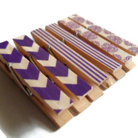Mini Clothespin Magnets Purple Set of 6 Magnet Clips