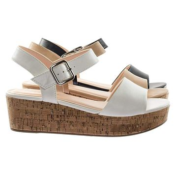 Orchis by Classified Retro Cork Flat Platform Flatform Sandal w Ankle Strap