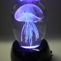 "Valentine Special Glass Jellyfish Paperweight 3.75"" - Jelly Fish Paper Weight White with Multi-color Light Base Gift"