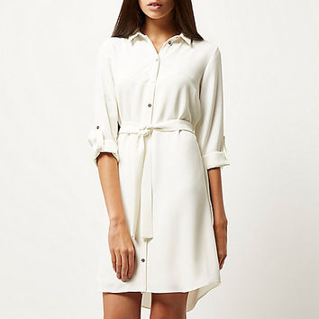 Cream belted shirt dress - shirt dresses - dresses - women