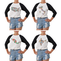 Women Traditional symbols of country Print Elbow Sleeve T- Shirt WTS_03