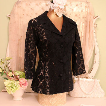 70s Black Lace Jacket, 60s 70s Hollywood Hippie, Elegant Tali Coat, Dinner Jacket, Boho Chic Clothes, Long Couture Jacket, Womens Size Small