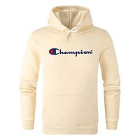 Champion tide brand men and women models simple fashion wild hooded sweater Beige
