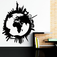 World Map Wall Decal- World Globe Wall Decal Travel Stickers City Skyline Scape Decals Living Room Bedroom Office Wall Art Home Decor C082