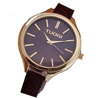 Tuogi Womens Gold and Black Watch with Brown Thin Leather Bands